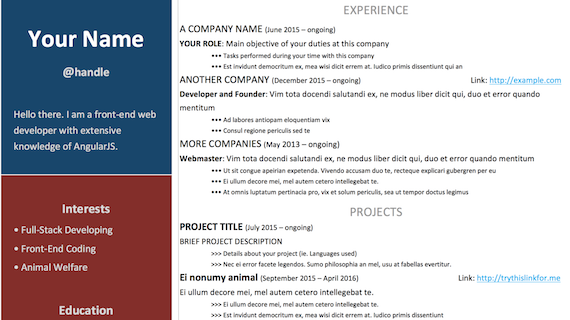 Bold Resume Template from lubble.me
